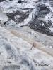 Kis piros zászló mutatja az utat a gleccseren